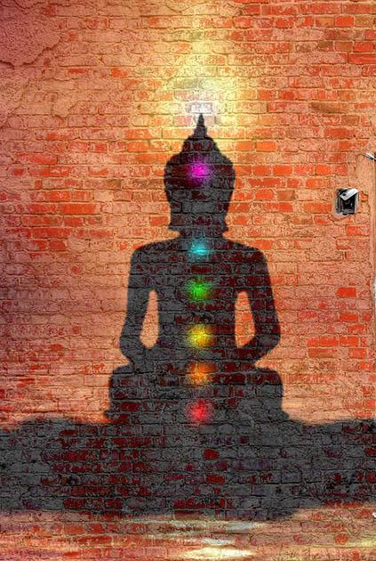 Ombre de Bouddha avec couleurs des chakras